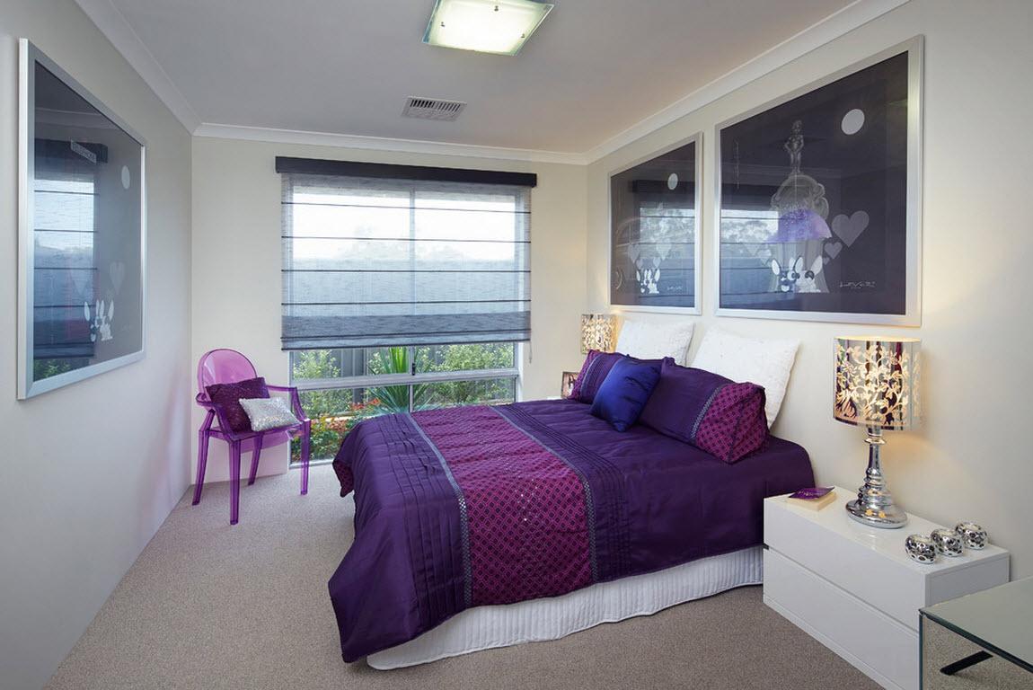 Фиолетовый текстиль для кровати
