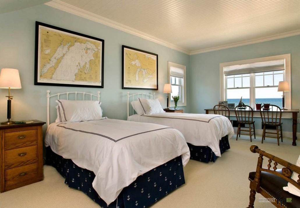 Дизайн детская комната с двумя кроватями