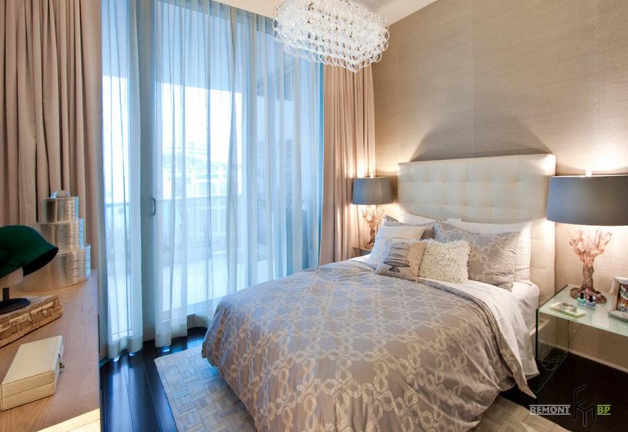 Фото дизайна голубо бежевой спальни