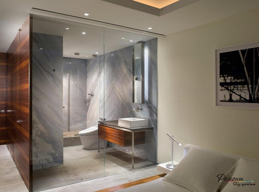 Великолепная ванная за стеклом