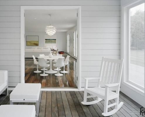 Белые стены и мебель в столовой и гостиной