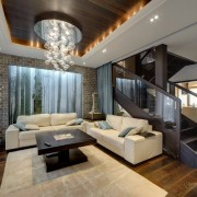 Контрастная отделка потолка