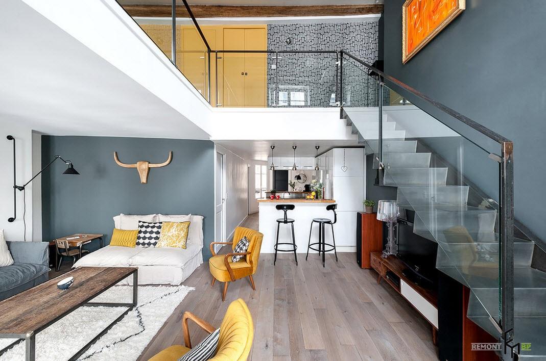 Дизайн студия квартиры лофт