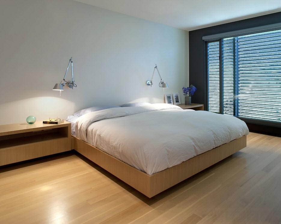 Оригинальные прикроватные светильники в спальне