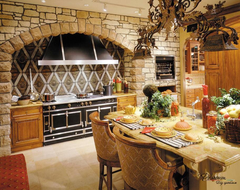 Ровная каменная облицовка кухни