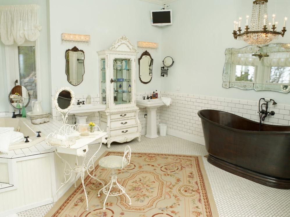 Бежевый коврик в ванной