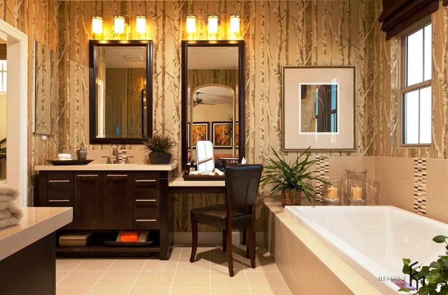 Темно-коричневый туалетный столик в ванной