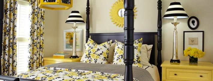 Жёлтые шторы в дизайнерской спальне