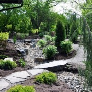 Имитация ручья в саду