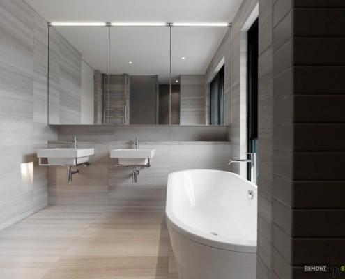 Несколько оттенков серого в интерьере ванной комнаты