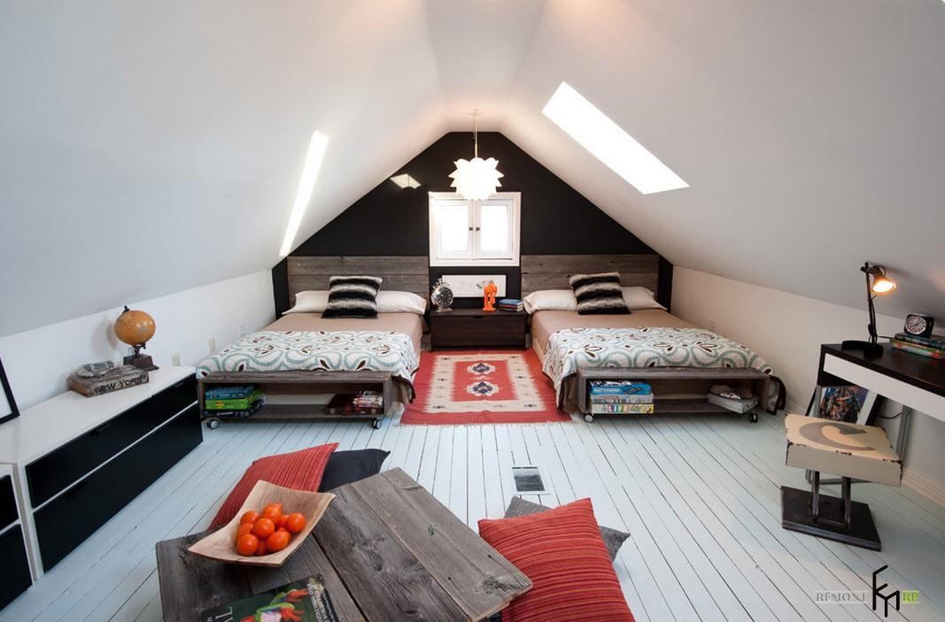 Комната в мансарде для подростков