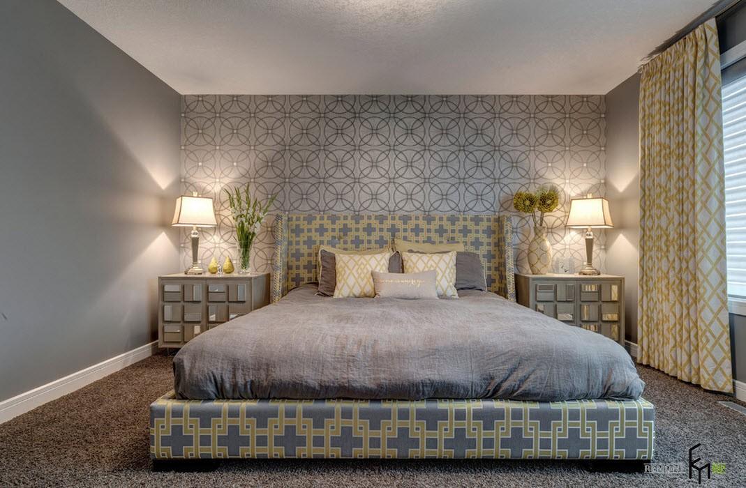Серые тона в минималистском интерьере спальни