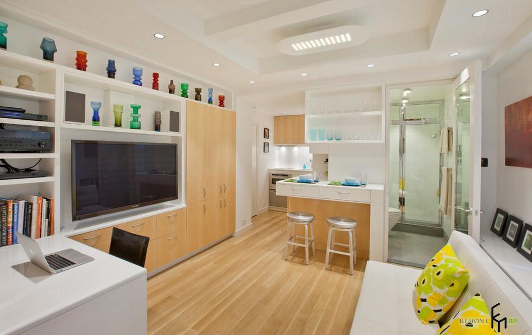 Светлая обстановка гостиной-кухни