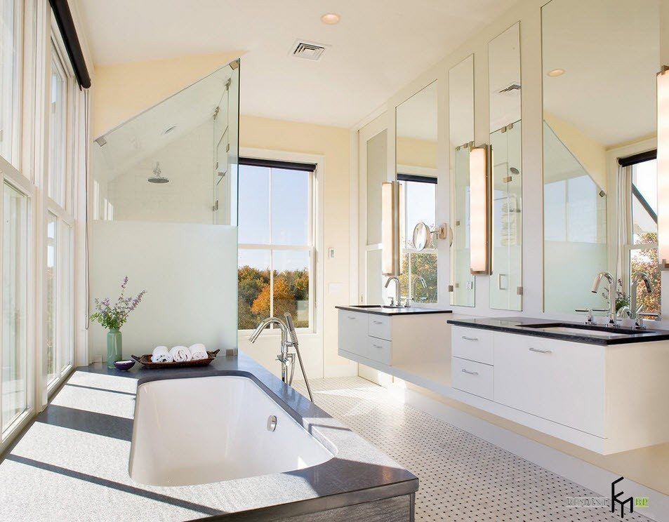 дизайн интерьера большой ванной комнаты фото