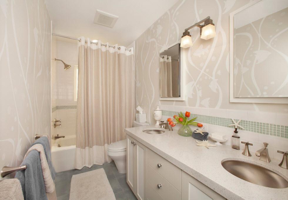 Штора на люверсах в ванной