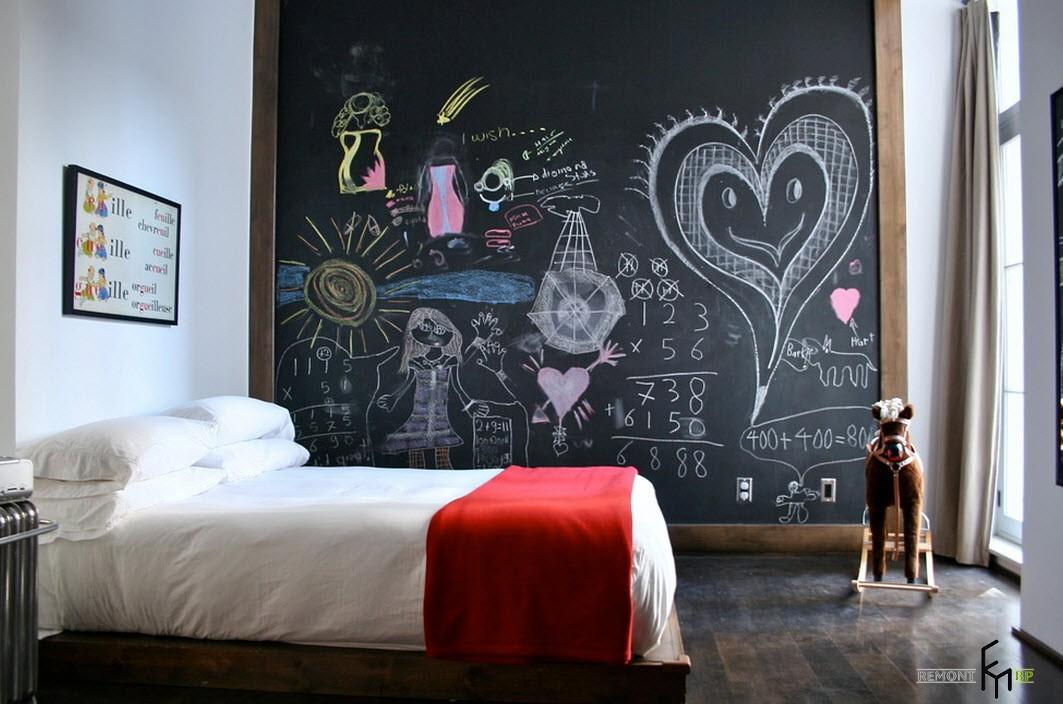 Чёрно-белая детская комната: интерьер в темно светлых тонах на фото