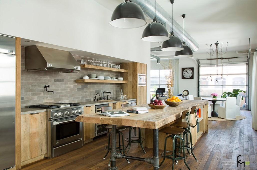 Кухни в интерьере лофт фото