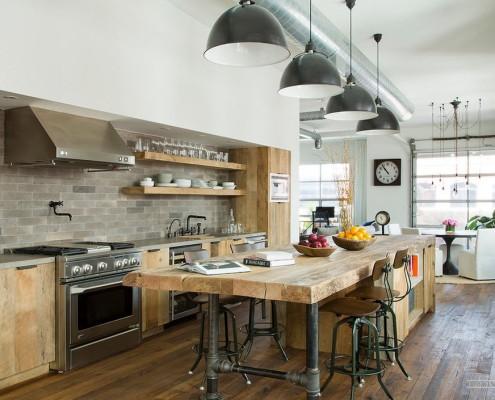 Лампы в интерьере кухни