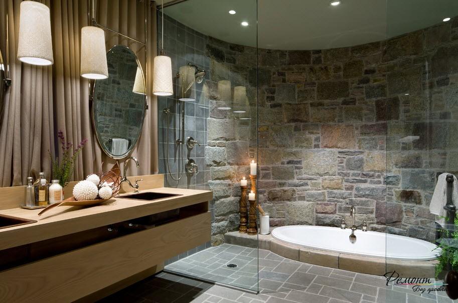Ванная комната с искусственным камнем нуждается в хорошем освещении