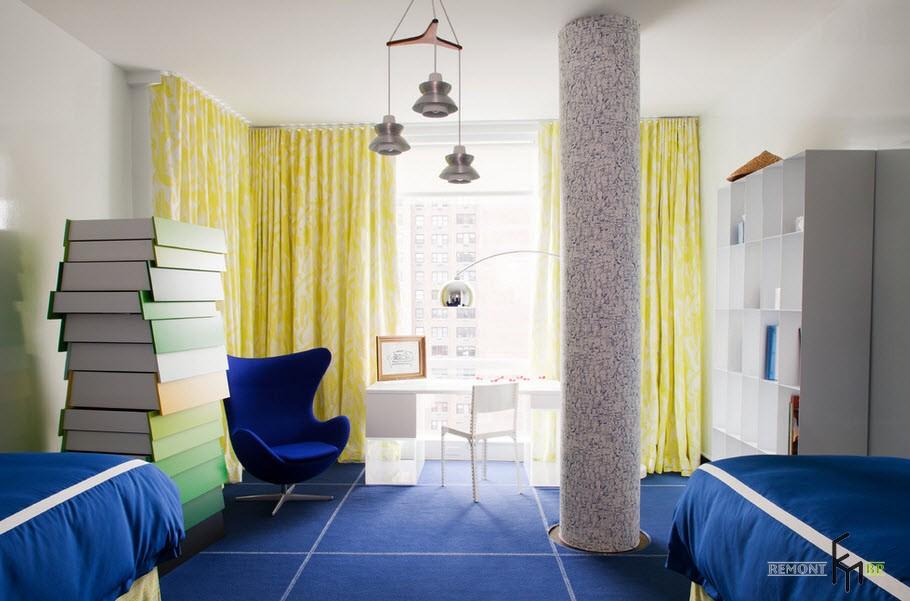 Жёлтые шторы в дизайнерской детской