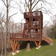 Необычнае стены в доме на дереве