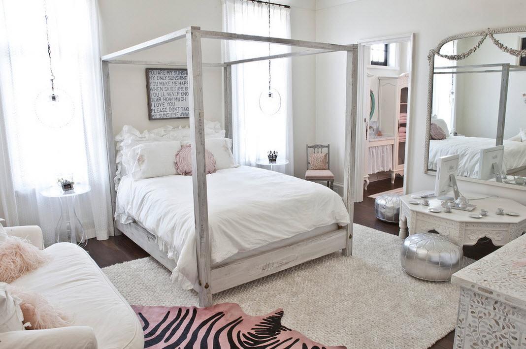 Дизайн спальни для девочки в белом цвете