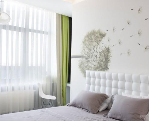 Крупное изображение одуванчика в спальне