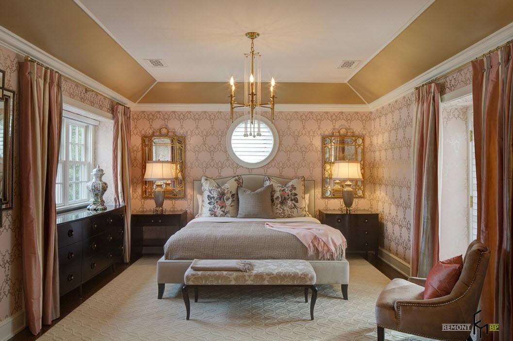 Нежное оформление спальни