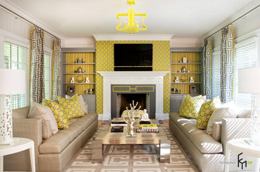 Жёлтые шторы в жёлтой гостиной