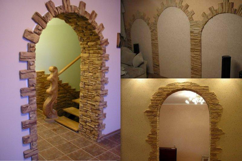 Отделка арки декоративным камнем в квартире