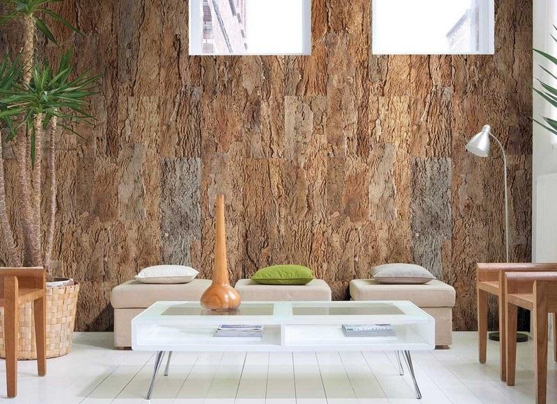 Пробковое стеновое покрытие в интерьере фото