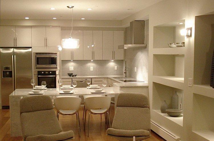 Освещение всех зон на кухне