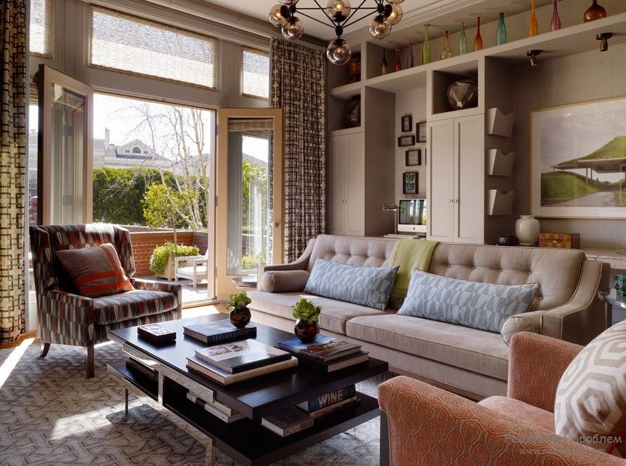 Диван в интерьере гостиной: 56 интересных и оригинальных идей