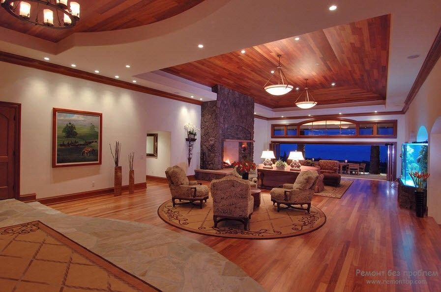 Гипсокартон на потолок в гостиной