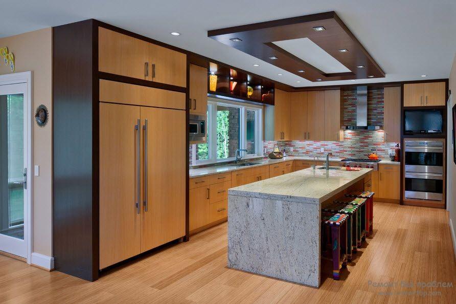 Гипсокартон на кухне фото в интерьере