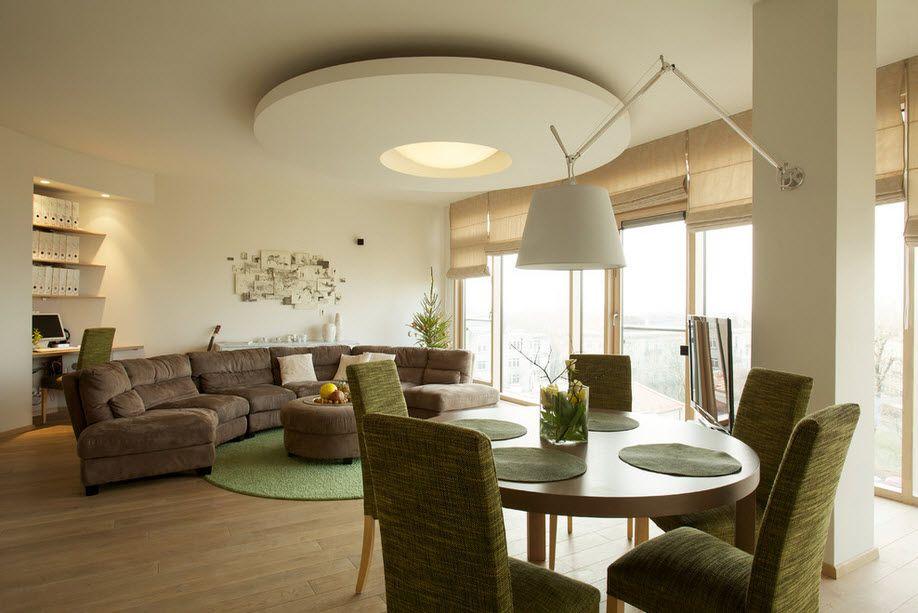 Гипсокартон в интерьере гостиной на стенах