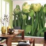 Фотообои цветы в интерьере