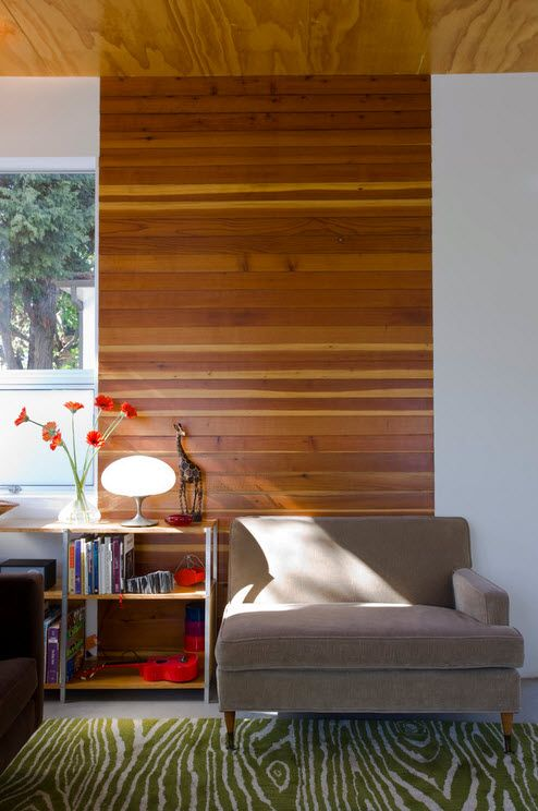 Деревянные обои: фото в интерьере, Дизайн стен с отделкой под дерево