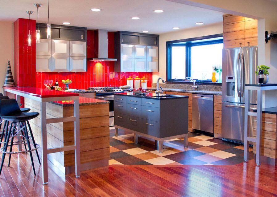 Интерьер кухни с линолеумом