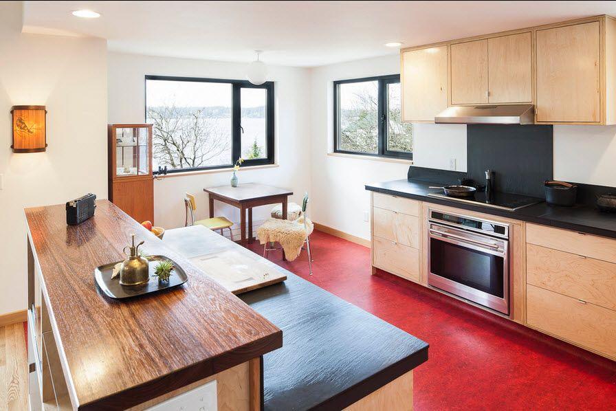 Красный линолеум на кухне