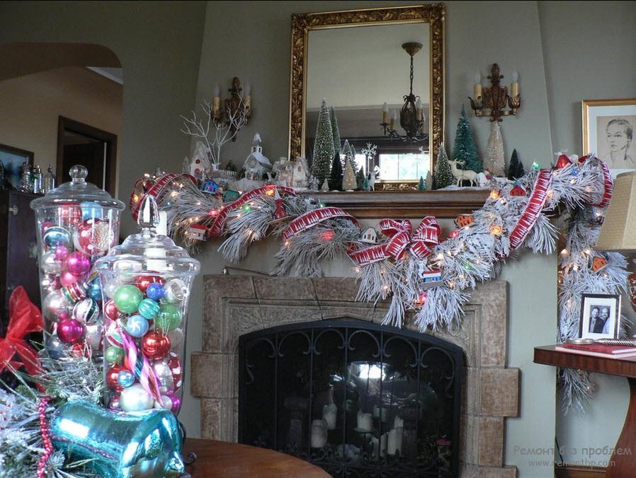 Украшение гостиной под новый год