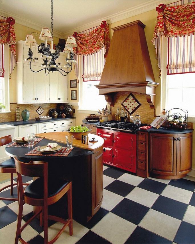 Кухня со шторами в интерьере