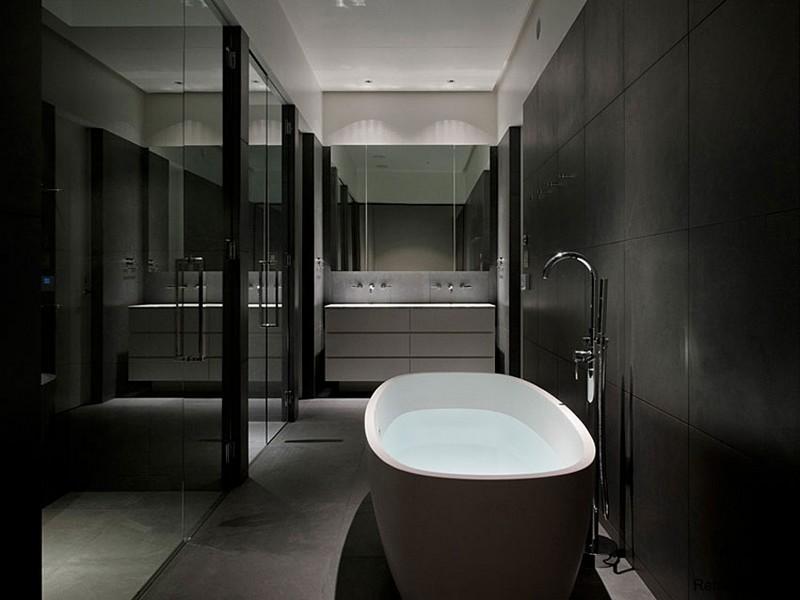 Интерьере ванной комнаты в стиле минимализм