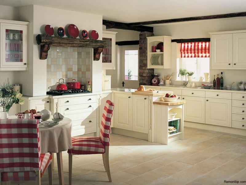 Светлая кухонная мебель Кантри