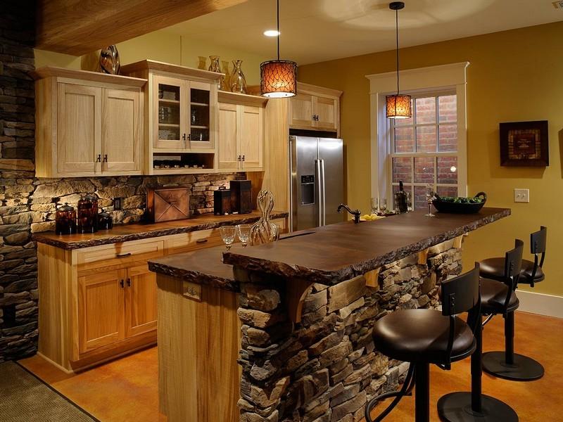 Декоративный камень на кухне стиль Кантри