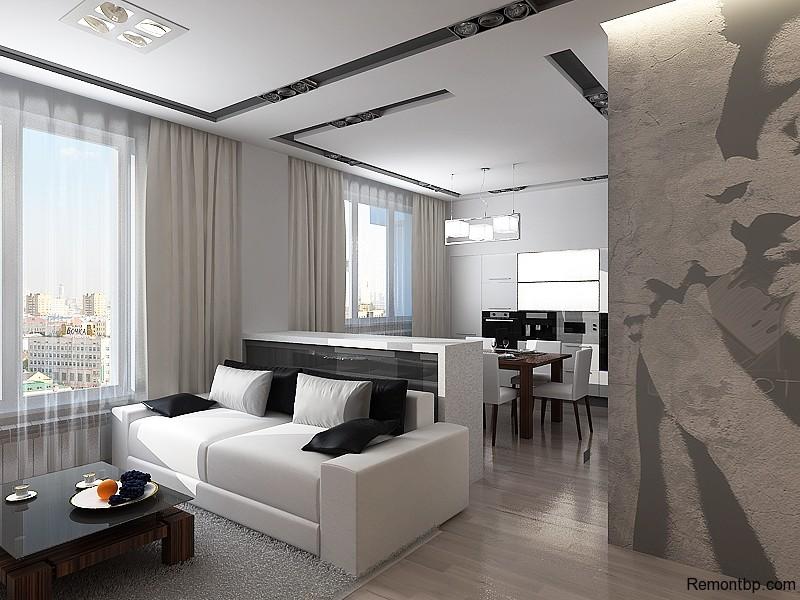 Совмещенная кухня и гостиная в стиле минимализм