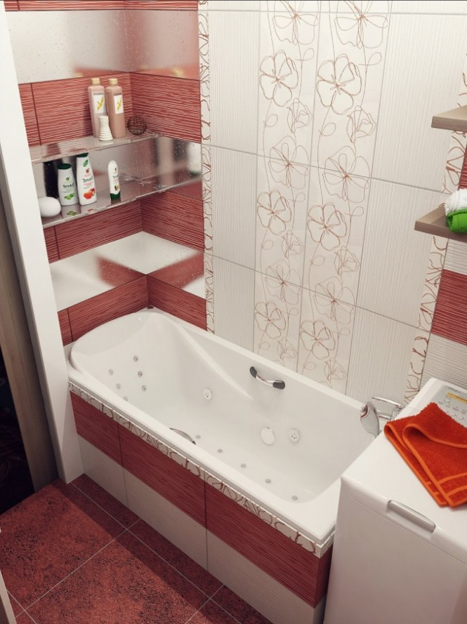 Красная плитка с рисунком в ванной