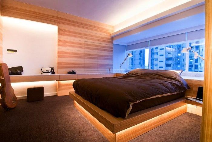 Деревянные стеновые панели в спальне