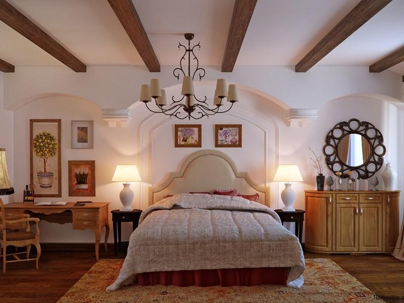 Кантри стиль спальня обустройство