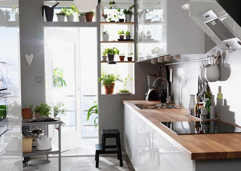 Светлые стены на кухне